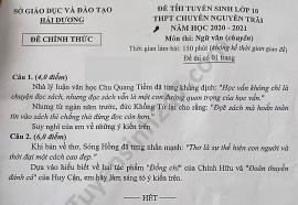 Đề thi Ngữ văn tuyển sinh lớp 10 vào THPT Chuyên Nguyễn Trãi tỉnh Hải Dương năm 2020