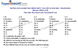 Đáp án đề thi Anh văn tuyển sinh lớp 10 vào THPT tỉnh Thanh Hóa năm 2020