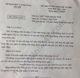 Đề thi Ngữ văn tuyển sinh lớp 10 vào THPT Chuyên Văn TP Hà Nội năm 2020