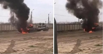 Xe tăng T-72 Nga bất ngờ bốc cháy dữ dội khi đang tập trận