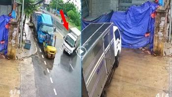 Camera giao thông: Xe tải drift vào sân nhà dân ven đường như phim hành động