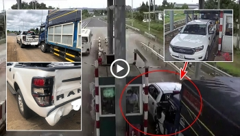 Camera giao thông: Rùng mình khoảnh khắc ôtô tải tông móp đuôi bán tải Ford Ranger đang dừng tại trạm thu phí