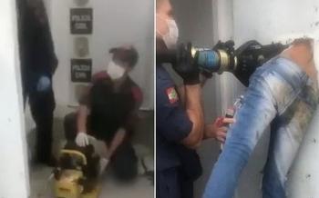 Video: Nghi phạm vượt ngục bị mắc kẹt, nhân viên cứu hỏa phải vào dùng công cụ thủy lực để cứu nạn