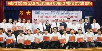 45 học viên Lào, Campuchia, Trung Quốc được trao chứng chỉ Tiếng Việt