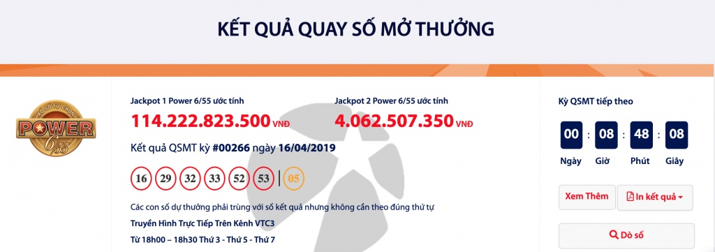 ket qua power 655 xo so vietlott hom nay 1842019 chu nhan cua hon 114 ti dong la ai