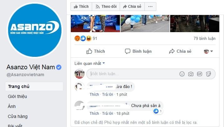 fanpage bi dan mang khung bo facebook cua asanzo voi vang chan binh luan