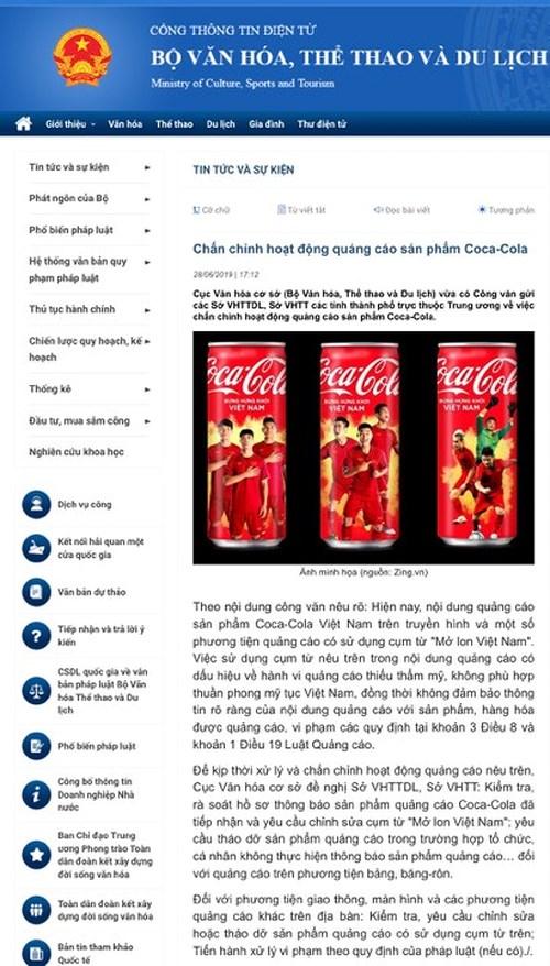 coca cola bi so gay vi de quang cao mo lon viet nam