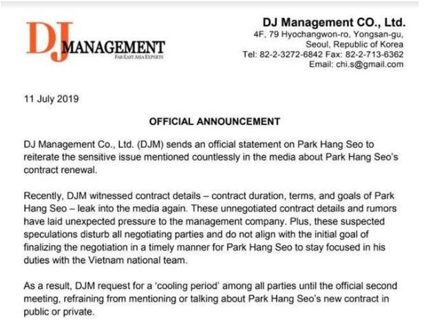 soc hlv park hang seo tam ngung dam phan hop dong voi vff ly do vi sao