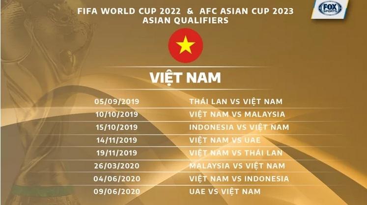 lịch thi đấu vòng loại world cup