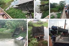 Xe đầu kéo lao xuống sông ở Hải Dương, tài xế và phụ xe bơi ra ngoài thoát chết