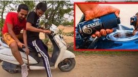 Người đàn ông Ấn Độ dùng nước khử mùi cơ thể thay xăng để...chạy xe máy