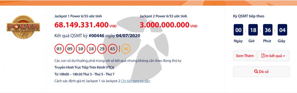 Kết quả xổ số Vietlott Power 6/55 tối ngày 7/7/2020: Gần 71 tỉ đồng chưa có chủ