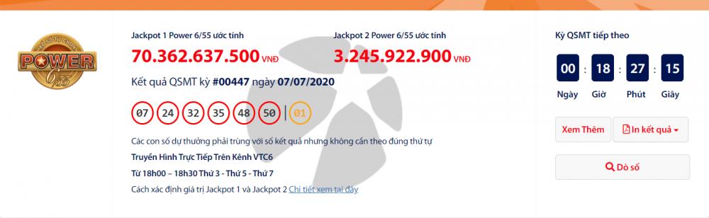 Kết quả xổ số Vietlott Power 6/55 tối ngày 9/7/2020: Ai sẽ trúng tiếp hơn 73 tỉ đồng?