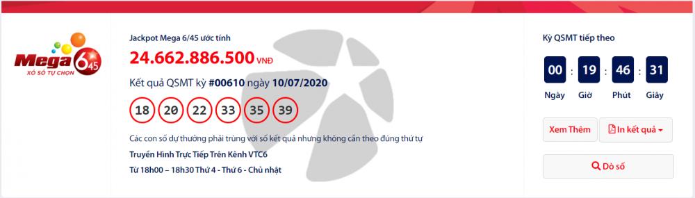 Kết quả xổ số Vietlott Mega 6/45 tối ngày 12/7/2020: Hé lộ vị khách trúng hơn 24 tỉ đồng