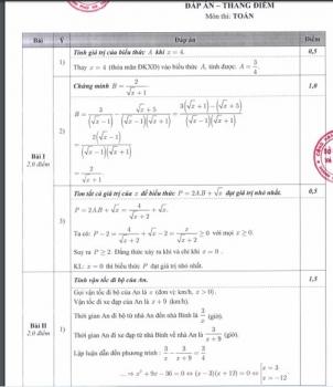 Đáp án chính thức và thang điểm các bài thi tuyển sinh vào lớp 10 THPT 2020 ở Hà Nội