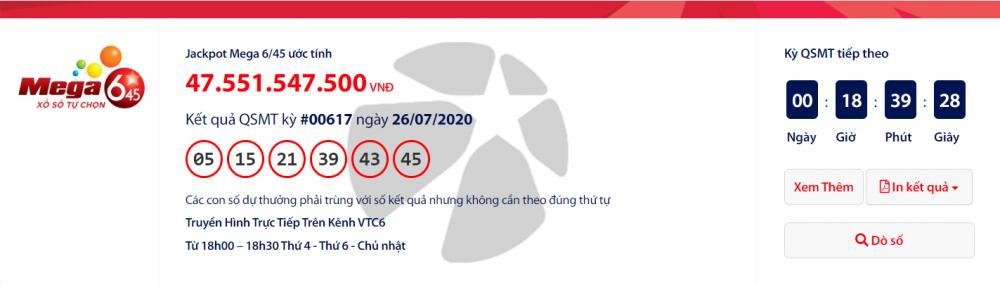 Kết quả xổ số Vietlott Mega 6/45 tối ngày 29/7/2020: Sau người trúng hơn 108 tỉ,