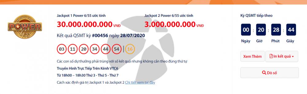 """Kết quả xổ số Vietlott Power 6/55 tối nay 30/7/2020: Về mốc 33 tỉ đồng, ai sẽ """"ẵm"""" trọn?"""