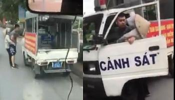 Clip: Công an phường mặc áo cộc tay, quần ngố, lái xe biển xanh xử lý vi phạm trên đường