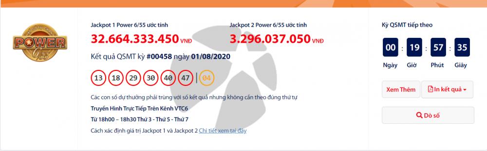 "Kết quả xổ số Vietlott Power 6/55 tối 4/8/2020: Lại ""nổ"" hơn 35 tỉ đồng?"