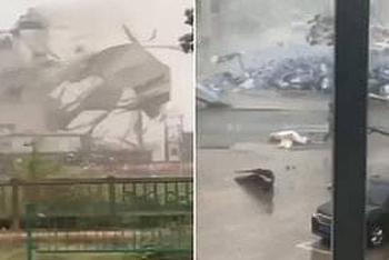 Clip: Hãi hùng bão nhiệt đới Mekkhala thổi bay một góc nhà máy ở Trung Quốc