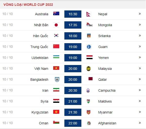 lich thi dau cua tuyen viet nam va cac doi khac trong ngay 1010 tai vong loai world cup 2022