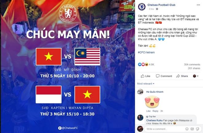 clb chelsea bat ngo chuc mung va co vu dt viet nam vs malaysia