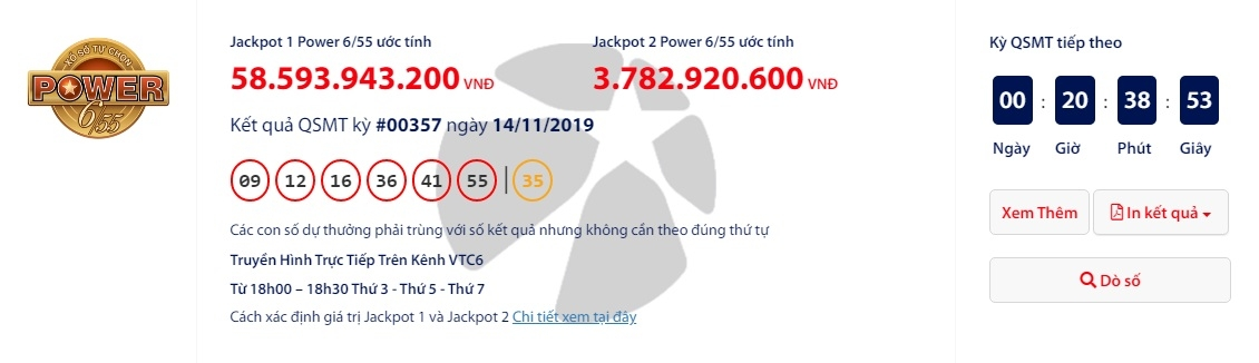 ket qua xo so vietlott power 655 ngay 1611 no hon 62 ti dong