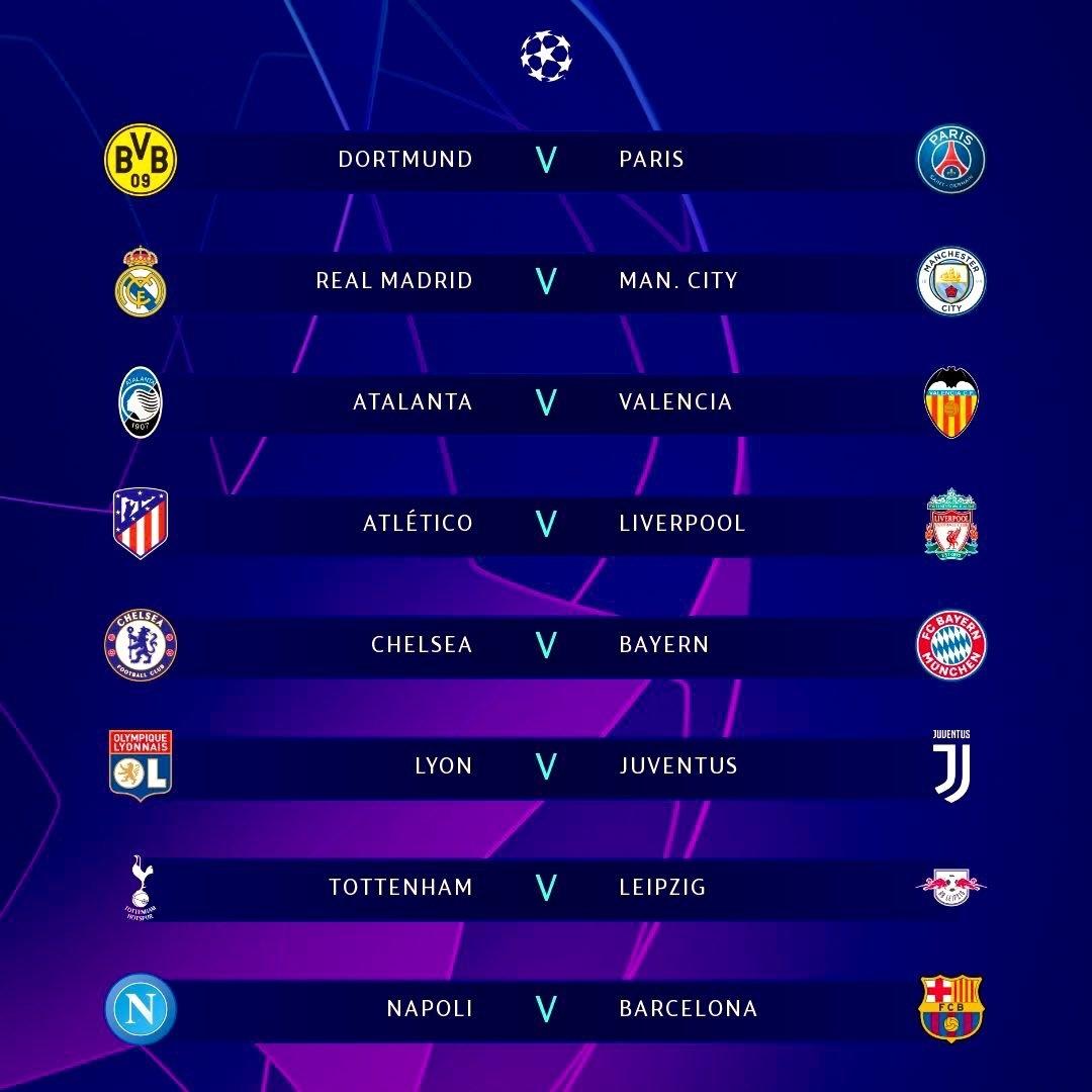 ket qua boc tham vong 18 cup c1 chau au 201920 real madrid vs man city dortmund vs psg chelsea vs bayern