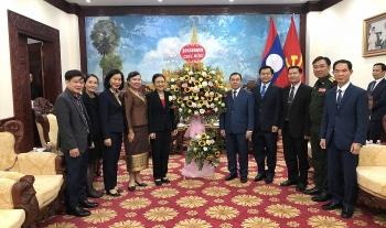 VUFO, Hội hữu nghị Việt – Lào chúc mừng Tết cổ truyền Bunpimay 2021 Đại sứ quán Lào tại Việt Nam