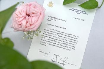 Đại sứ quán Mỹ gửi thư tri ân y bác sỹ Bệnh viện Hữu nghị Việt - Đức