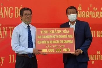 Khánh Hòa, Đắk Lắk, Bình Dương trao 1 tỷ đồng hỗ trợ TP. Pakse, tỉnh Champasak (Lào) chỉnh trang đô thị