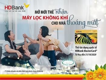 """""""Khách hàng vay – tặng ngay máy lọc không khí"""" cùng thẻ HDBank MasterCard"""