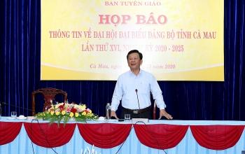 Đại hội đại biểu Đảng bộ tỉnh Cà Mau lần thứ XVI sẽ diễn ra từ ngày 26 đến 28/10