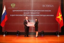Incentra tặng 100.000 khẩu trang y tế cho Đại sứ quán Liên Bang Nga và người  dân TP. Mátxcơva