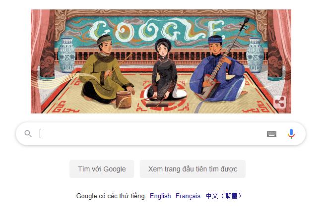 google lan dau tien ton vinh nghe thuat ca tru viet nam tren trang chu