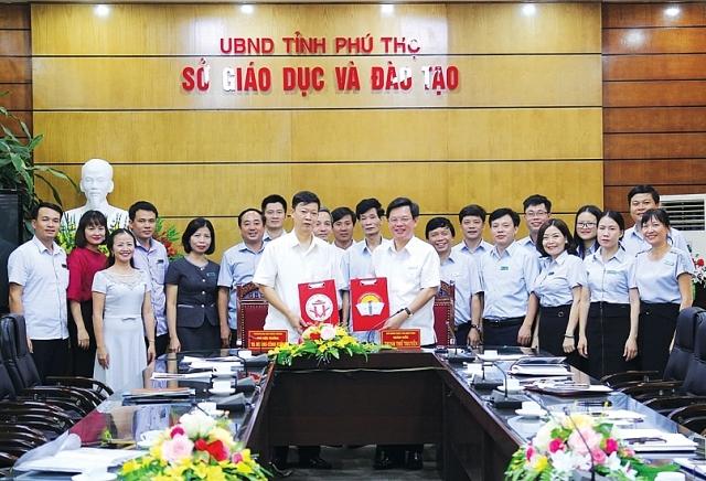 Trường Đại học Hùng Vương và Sở Giáo dục và Đào tạo Phú Thọ ký kết biên bản hợp tác toàn diện (ảnh ĐHHV).