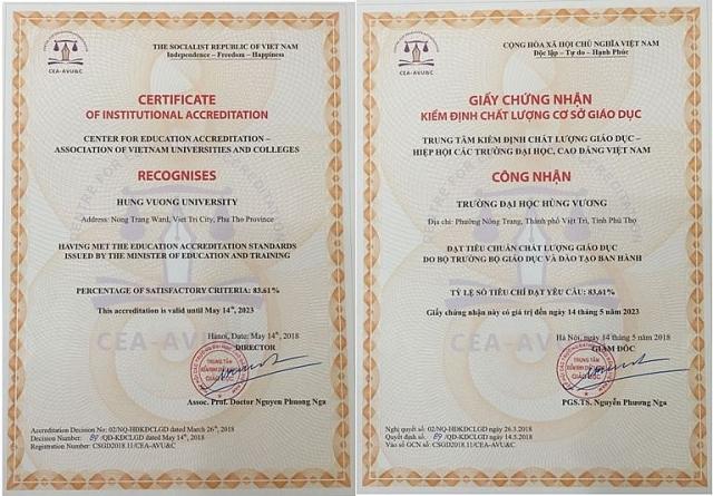 Trường Đại học Hùng Vương chính thức được công nhận đạt chuẩn chất lượng cơ sở giáo dục do Bộ GD&ĐT quy định ban hành (ảnh ĐHHV).