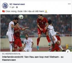fanpage cua heereveen dang status chuc mung van hau va tuyen viet nam