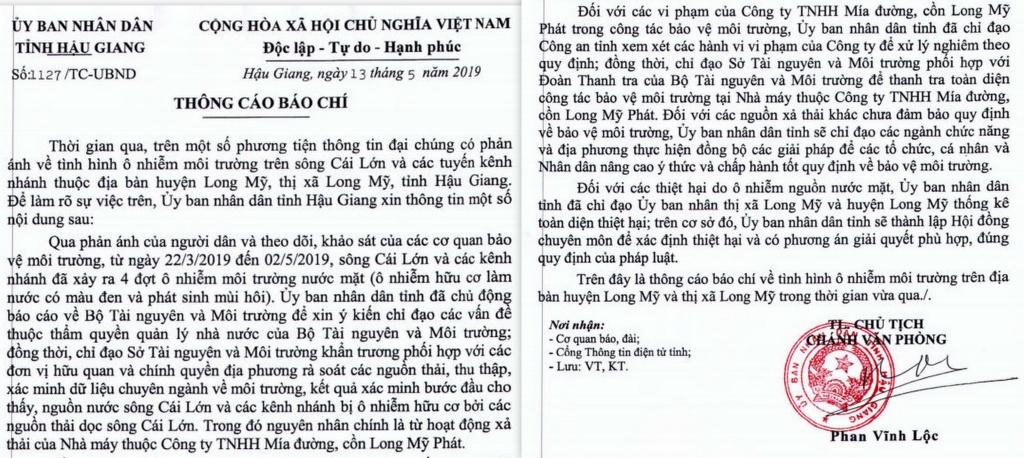 hau giang cong bo nguyen nhan nuoc song cai lon den ngom