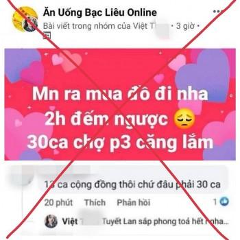 Phạt người tung tin bịa đặt 'phong tỏa TP Bạc Liêu' trên mạng xã hội