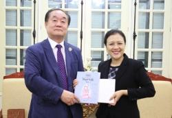 Chủ tịch Liên hiệp các tổ chức hữu nghị Việt Nam tiếp Giáo sư Ahn Kyong Hwan