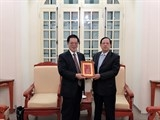 Lãnh đạo Hội Việt-Trung tiếp xã giao đoàn Sở ngoại vụ Tỉnh Giang Tô