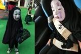 khong the nhin cuoi voi co be hoa trang thanh vo dien choi halloween