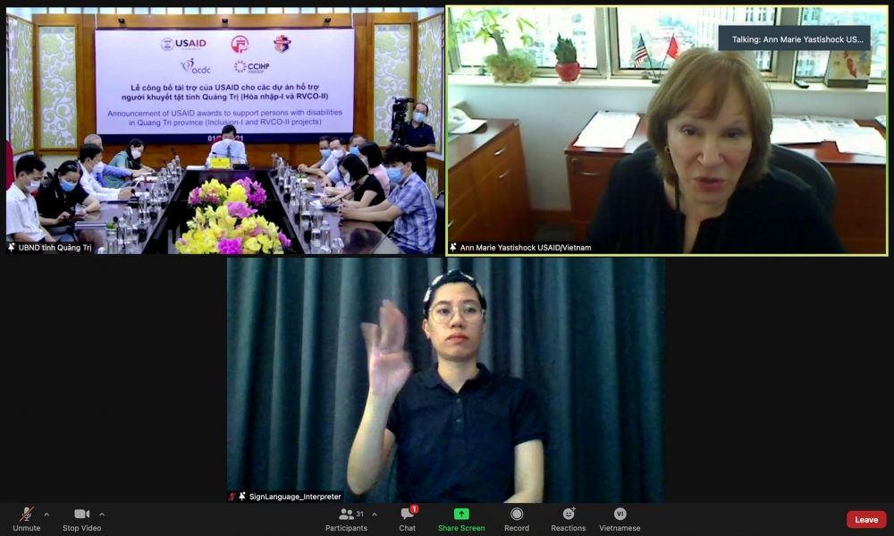 Quang cảnh buổi ễ công bố tài trợ của USAID cho các dự án hỗ trợ người khuyết tật tại tỉnh Quảng Trị, ngày 1/9/2021