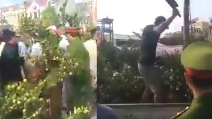 video tuc vi bi tich thu quat canh ban tren via he thanh nien nhay len xe cong vu chat het cay