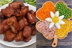hom nay an gi suon xao chua ngot an cung salad nga