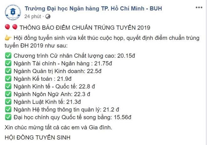 diem chuan nam 2019 truong dai hoc ngan hang tp hcm