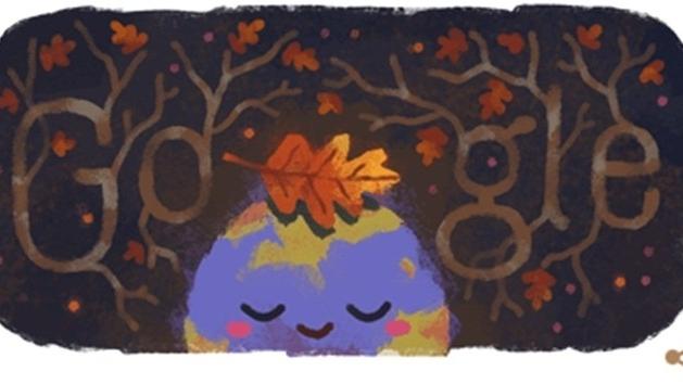 google doodle chao mung mua thu 2019 voi bieu tuong trai dat doi chiec la vang
